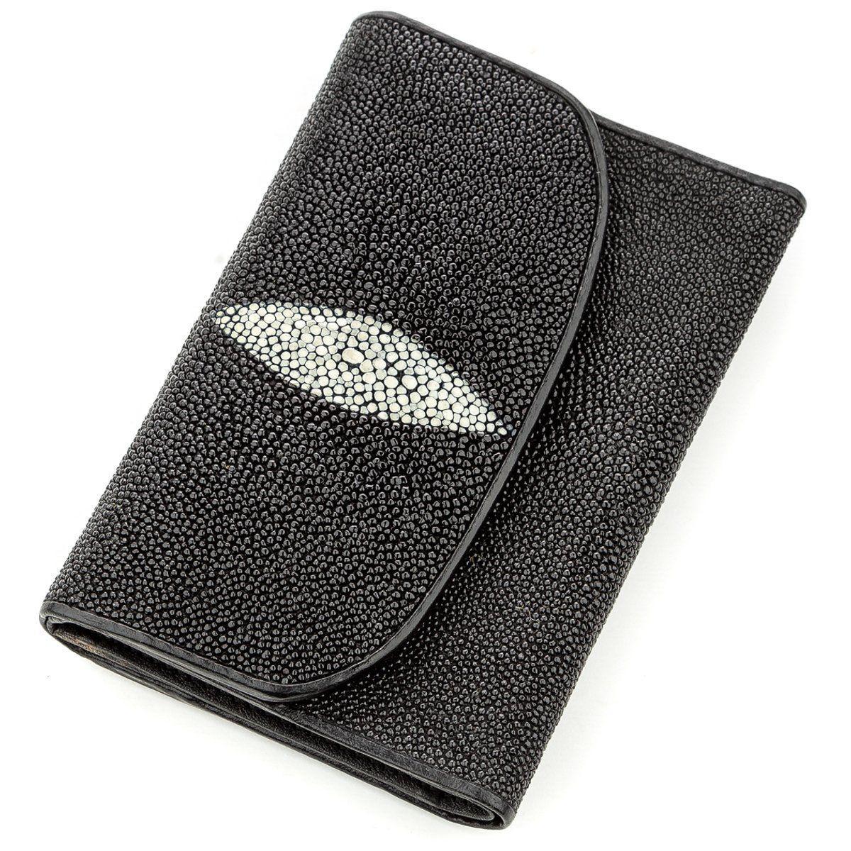 Горизонтальный Кошелек Stingray Leather 18560 Из Натуральной Кожи Морского Ската Черный, Черный
