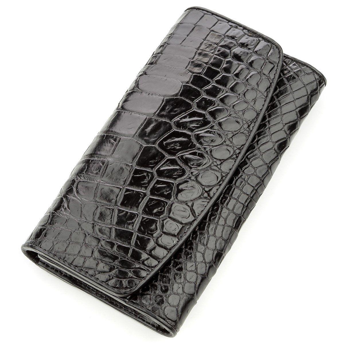 Кошелек-Клатч Crocodile Leather 18572 Из Натуральной Кожи Крокодила Черный, Черный