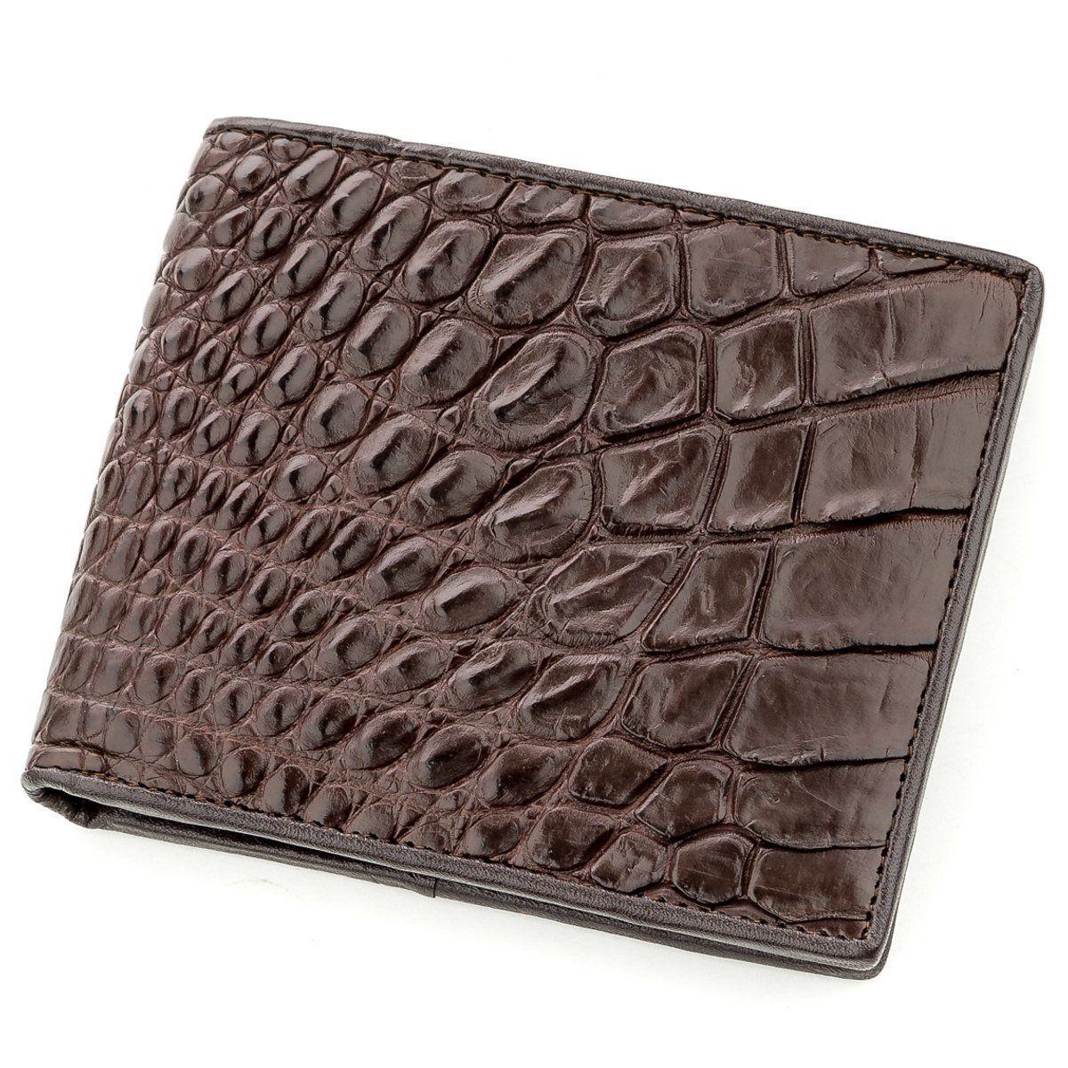Бумажник Мужской Crocodile Leather 18577 Из Натуральной Кожи Крокодила Коричневый, Коричневый