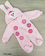 Детский тёплый человечек с ушками для малышей 68-74 см, розового цвета