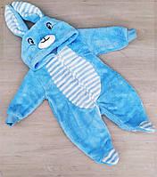 Детский тёплый человечек с ушками для малышей 68-74 см, голубого цвета