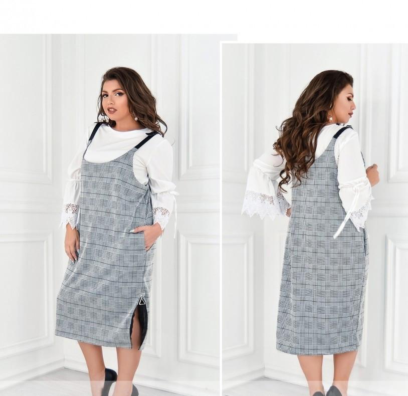 / Размер 56 / Женский элегантный сарафан батал с принтом в мелкую чёрно-бело-серую клетку 15-Серый