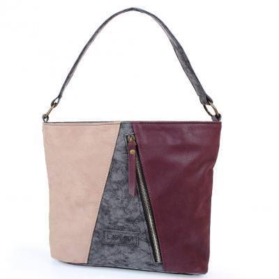 Женская сумка из качественного кожезаменителя  LASKARA (ЛАСКАРА) LK10206-black-wine