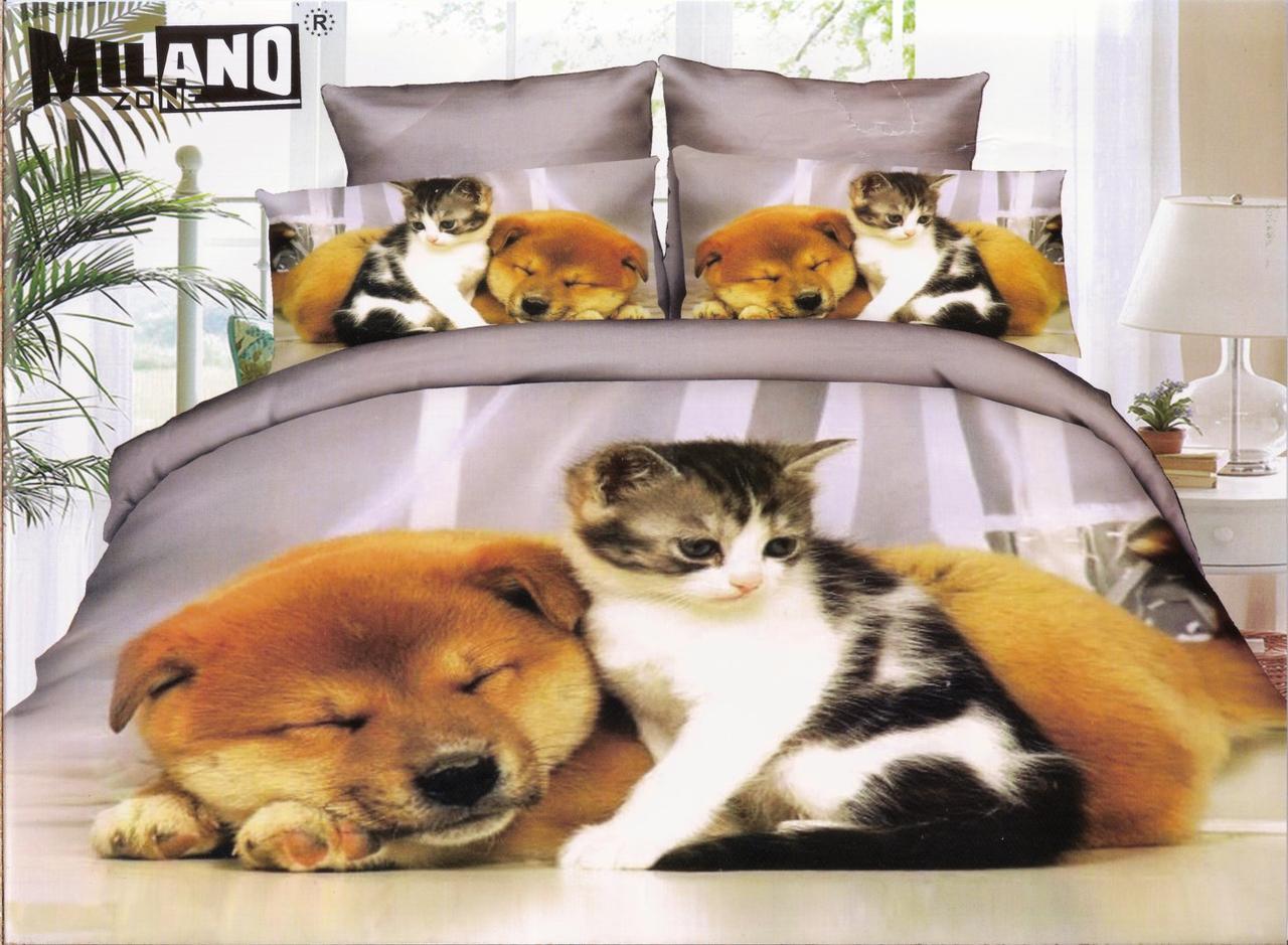 3D Постільна білизна ТМ Мілано принт кішка і собака друзя (Milano Zone) полуторка Польща