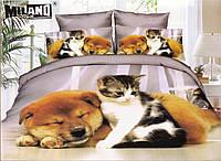 3D Постельное белье ТМ Милано принт кошка и собака друзя (Milano Zone) полуторка Польша, фото 1