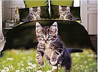 3D Постельное белье ТМ Милано рисунок кошка на траве (Milano Zone) полуторка Польша, фото 1