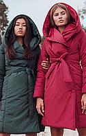 Теплое женское пальто Сантино с капюшоном (42-48 в расцветках), фото 1