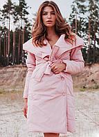 Теплое женское пальто Сантино с капюшоном (42-48 в расцветках)