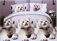 3D Постельное белье ТМ Милано рисунок три котенка (Milano Zone) полуторка Польша, фото 1