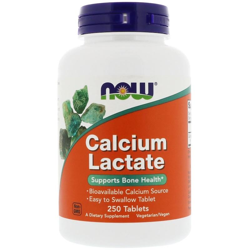 """Лактат кальция NOW Foods """"Calcium Lactate"""" поддерживает здоровье костей (250 таблеток)"""