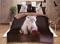 3D Постельное белье ТМ Милано рисунок игривая кошка (Milano Zone) полуторка Польша, фото 1