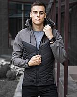 Демисезонная мужская не промокаемая куртка Soft Shell (Софт Шел) черная с серым