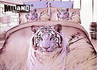 3D Постельное белье ТМ Милано рисунок тигр (Milano Zone) полуторка Польша