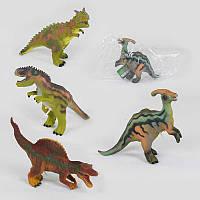 Динозавр музыкальный Q 9899-503 А (48/2) 4 вида, мягкий, резиновый, 34 см, в кульке