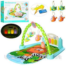 Развивающий коврик для младенцев. Звуковые и световые эффекты. Подвесные игрушки.  9913B