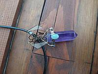 Кулон маятник из аметиста со вставкой из авантюрина