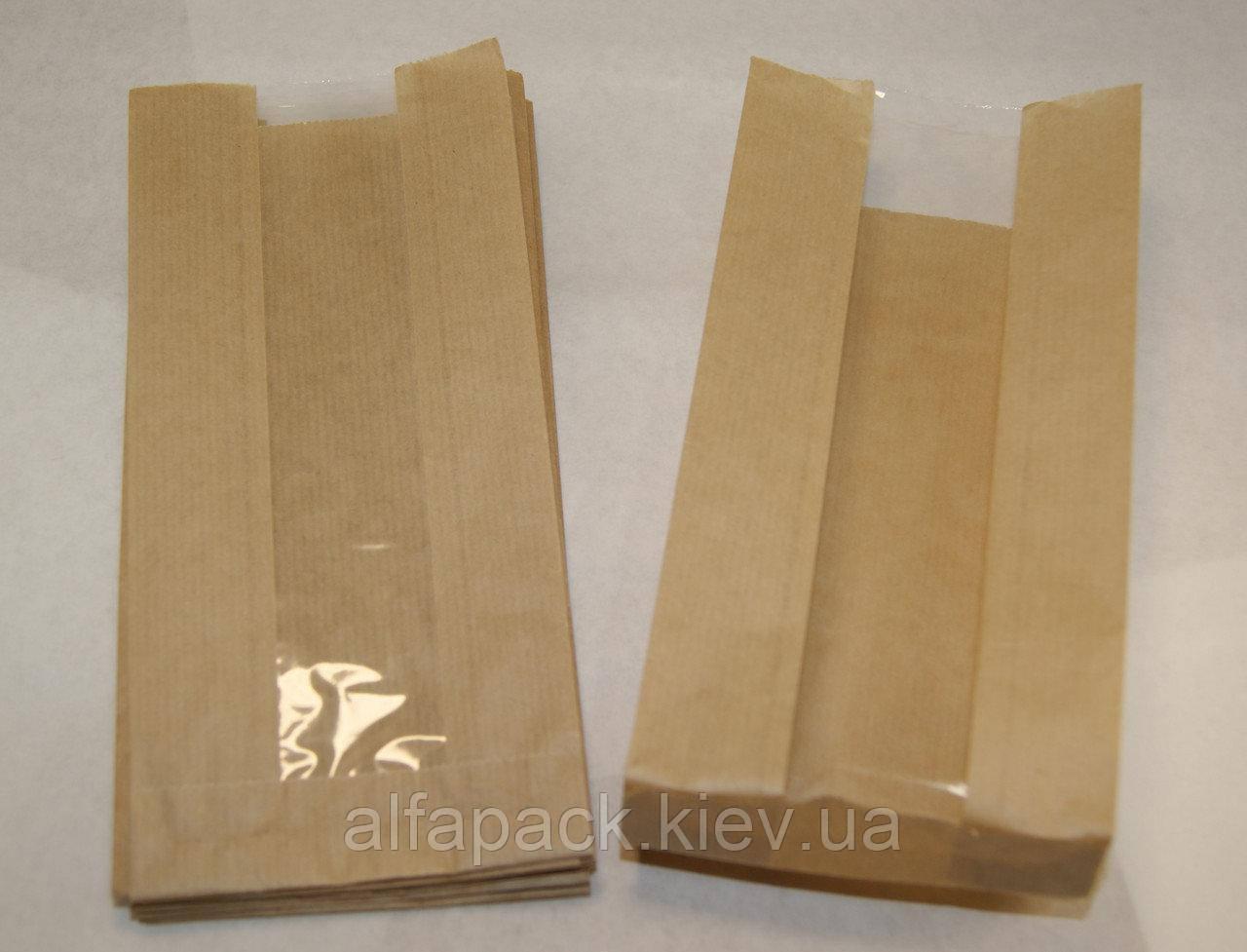 Пакет саше бумажный бурый с окном 310х90х50/40 мм