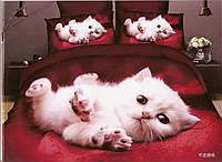 3D Постільна білизна ТМ Мілано малюнок білий кошеня (Milano Zone) полуторка Польща, фото 1