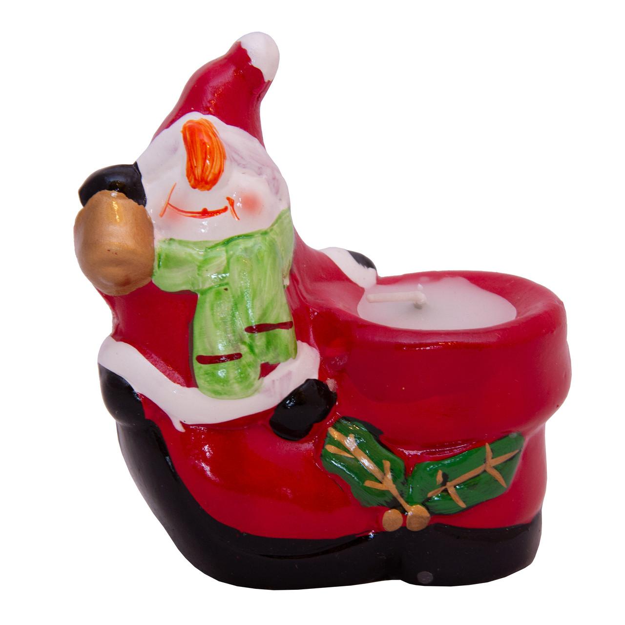 Подсвечник - Снеговик со свечой, 9*5,8*9,5 см, красный, керамика (442621-2)