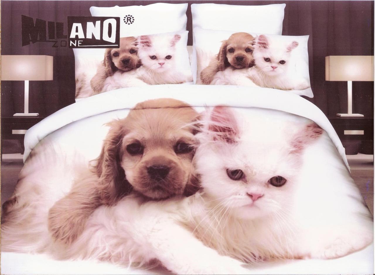 3D Постельное белье ТМ Милано рисунок щенок и кошка (Milano Zone) полуторка Польша