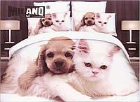 3D Постельное белье ТМ Милано рисунок щенок и кошка (Milano Zone) полуторка Польша, фото 1