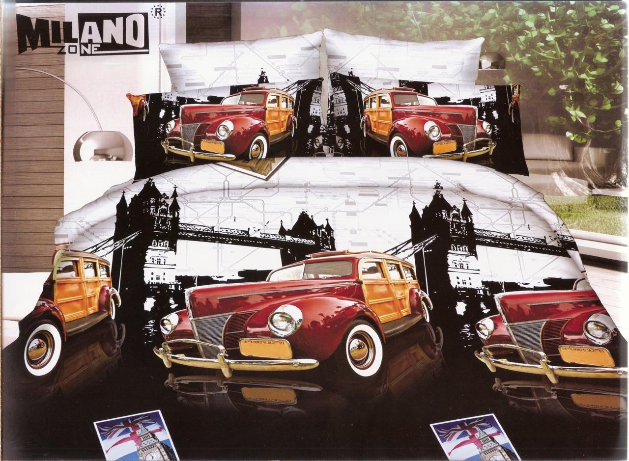 3D Постельное белье ТМ Милано рисунок ретро тачки (Milano Zone) полуторка Польша