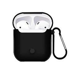 Пластиковый чехол с карабином WIWU Armor Black для Apple AirPods