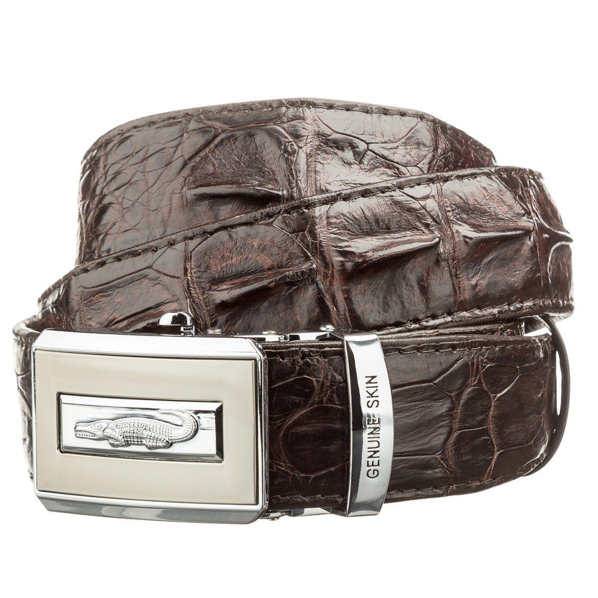 Ремень Автоматический Crocodile Leather 18606 Из Натуральной Кожи Крокодила Коричневый, Коричневый