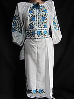 Платье из домотканого полотна вышитое Розы