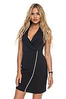 Черное короткое платье на молнии (S, M)