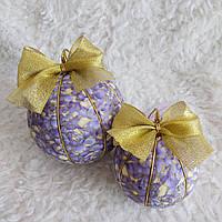 Набор сиреневых новогодних шаров ручной работы 2 шт (диаметр 8 и 10 см)