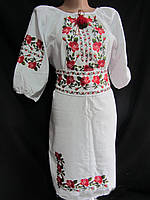 Женское платье из домотканого полотна вышитое Розы - 2