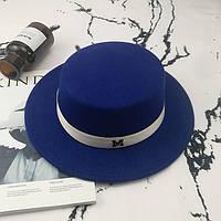 Шляпа женская фетровая канотье в стиле Maison Michel синяя, фото 1