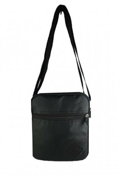 Черная сумка через плечо мессенджер с внешним карманом