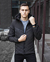 "Мужская осенняя куртка Куртка Pobedov Jacket ""Soft Shell combi V2"" черная с серым"