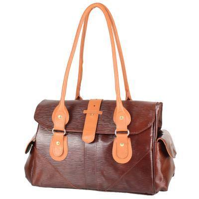 Женская кожаная повседневно-дорожная сумка  LASKARA (ЛАСКАРА) LK-DM233-choco-cognac