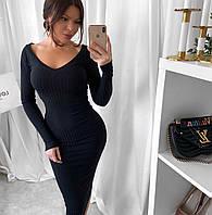 Платье женское в рубчик чёрный бордо бежевый, фото 1