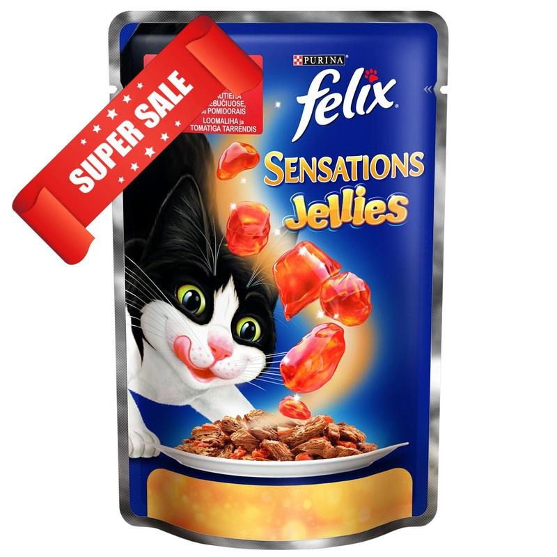 Влажный корм для кошек Purina Felix Sensations с говядиной и томатами в желе 100 г