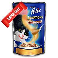 Влажный корм для кошек Purina Felix Sensations с лососем со вкусом креветок в соусе 100 г