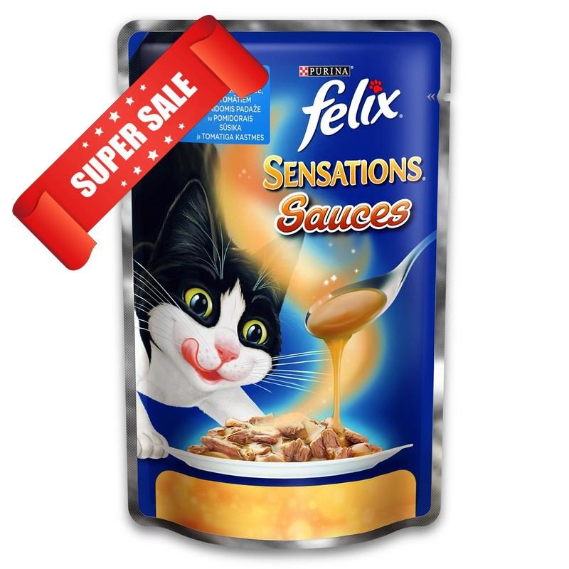 Влажный корм для кошек Purina Felix Sensations с сайдой и томатами в соусе 100 г