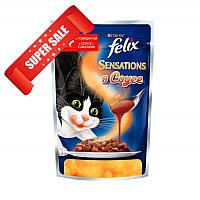 Влажный корм для кошек Purina Felix Sensations с говядиной и томатами в соусе 100 г