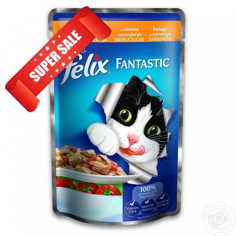 Влажный корм для кошек Purina Felix Fantastic с курицей и томатами в желе 100 г
