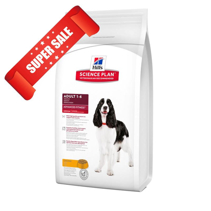 Сухой корм для собак Hill's Science Plan Canine Adult Advanced Fitness Medium Chicken 12 кг