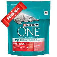 Сухой корм для котов Purina One Sterilcat Salmon & Wheat 800 г