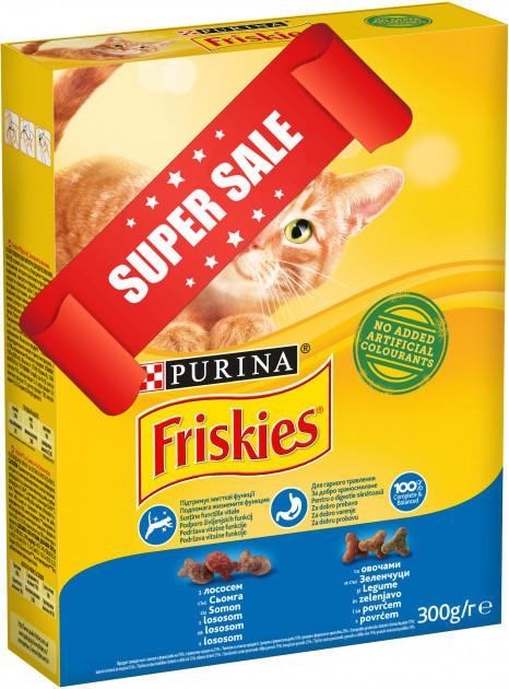 Сухой корм для котов Purina Friskies c лососем и овощами 300 г