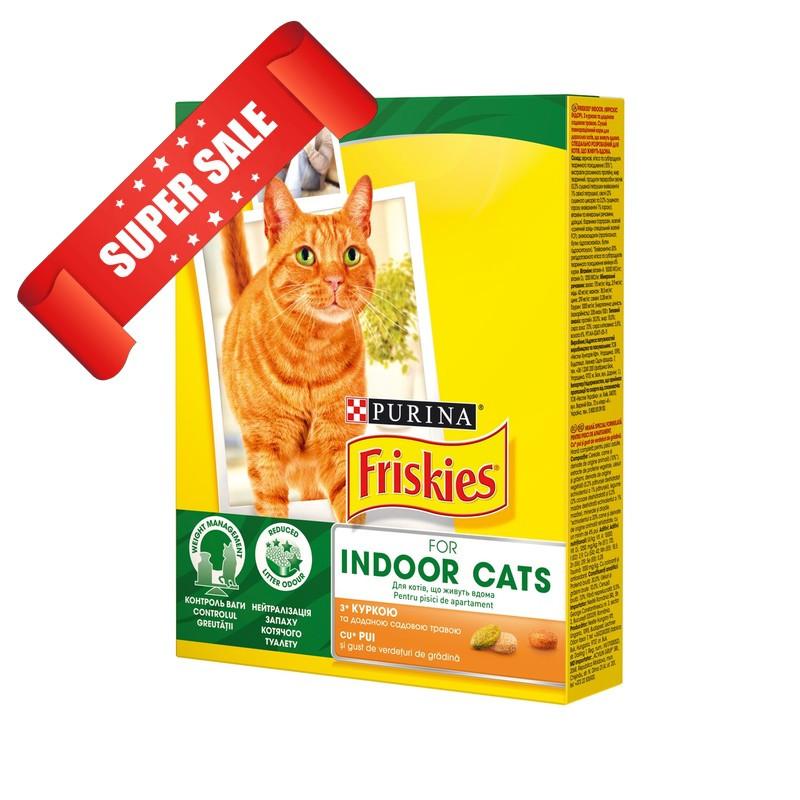 Сухой корм для котов Purina Friskies Indoor Cats с курицей и садовой травой 1,5 кг