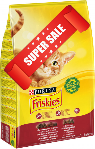 Сухой корм для котов Purina Friskies c говядиной, курицей и овощами 10 кг