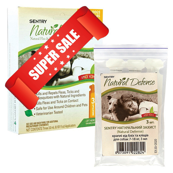 Капли от блох и клещей Sentry Natural Defense для собак и щенков весом от 7 до 18 кг 3 мл