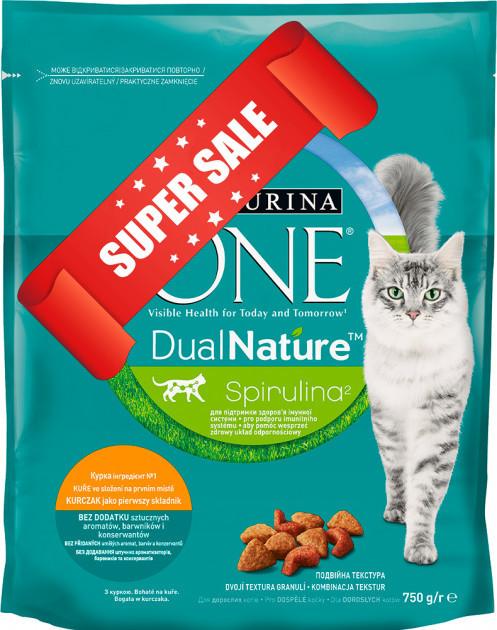 Сухой корм для котов Purina One DualNature Spirulina 750 г