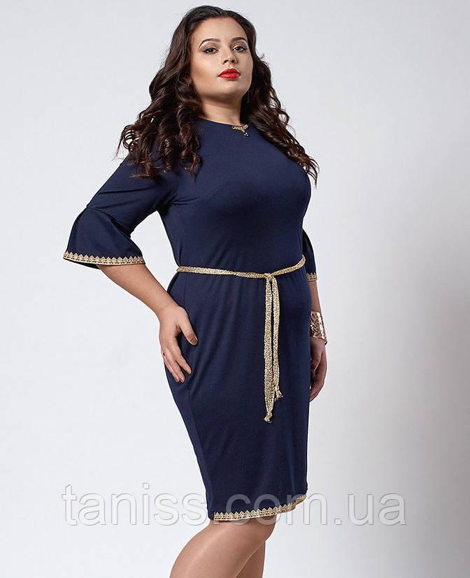 Нарядное деловое платье большого размера, франц.трикотаж, отделка кружево  р. 50,52,54 т.синий294)